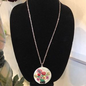 Hand Painted Floral Locket Pastel Art Necklace